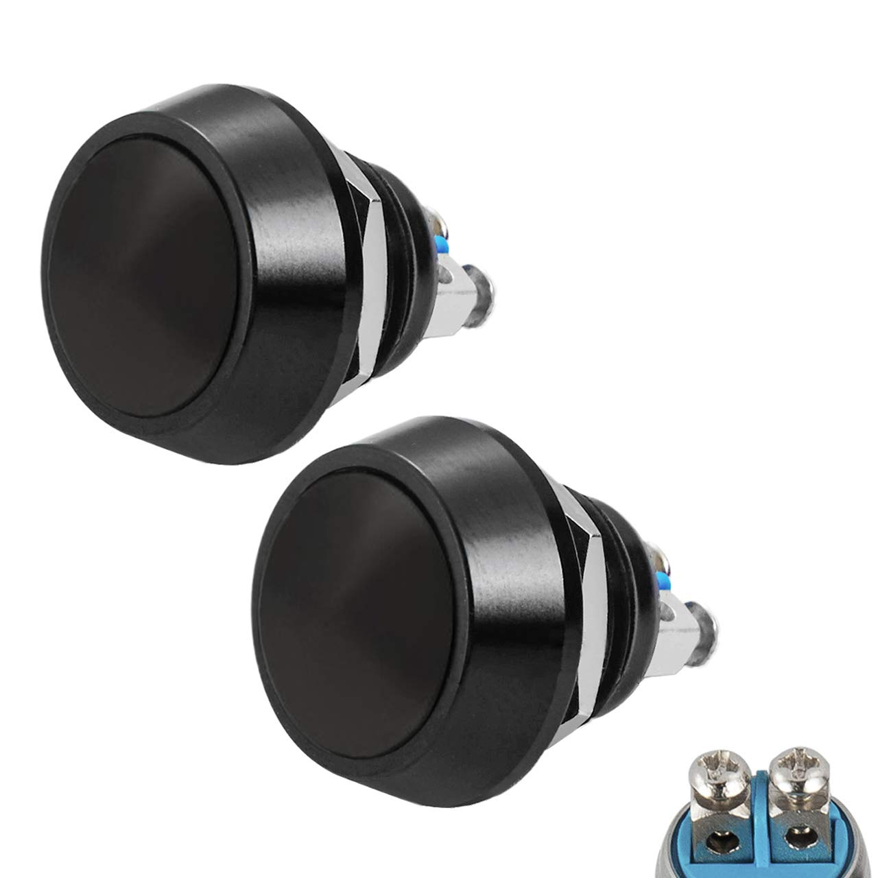 Quentacy 2Pack Momentary Push Button Switch Waterproof SPST DC 36V 2A Metal Shell 12mm 1/2'' Hole (Black)
