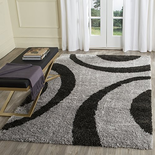 Safavieh Portofino Shag Collection PTS213C Grey and Black Area Rug (8' x 10')