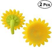 Lurrose 2pcs Silicone Baby Bath Brushes Sunflower-shaped Shower Brush Hair Shampoo Brushes