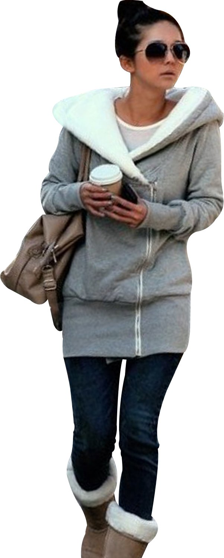 SKYLINEWEARS Women's Ladies Double Zip Hoodies Sweatshirt Jacket Coats Gray XL
