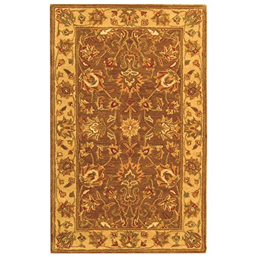 Safavieh Heritage Collection HG343K Handcrafted Traditional Oriental Brown and Ivory Wool Area Rug 3 x 5