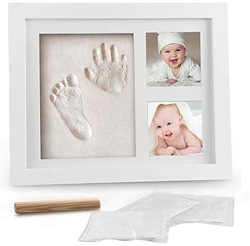4 x Babybilderrahmen mit Gipsabdruck Baby Fußabdruck mit Rahmen weiß Handabdruck
