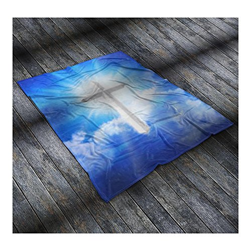 BO15 Faith Collection - Blanket (50'' x 60'', White Cross) by BO15