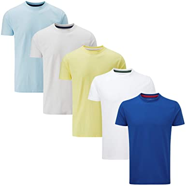 8f19a740 Charles Wilson 5 Pack Plain Crew Neck T-Shirt: Amazon.co.uk: Clothing