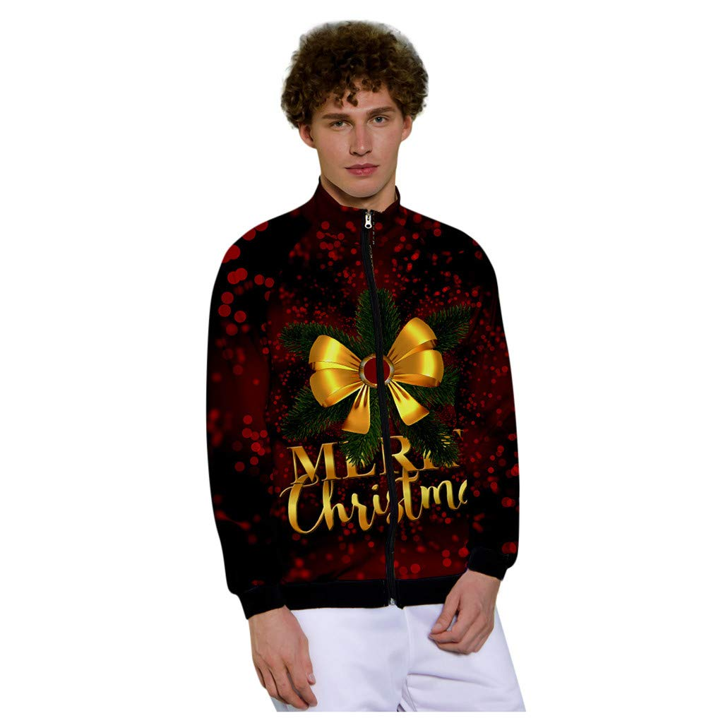 1KTon Mens Christmas Fun Ugly 3D Print Party Long Sleeve Coat Stand Collar Jacket by 1KTon