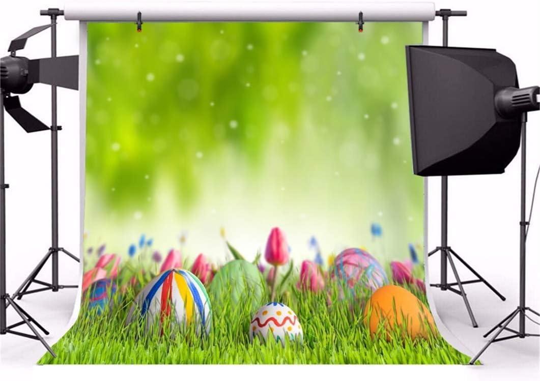 10x10ft Vinyl Easter Photography Background Spring Grassland Easter Eggs Bokeh Tulip Flowers Scenic Backdrop Child Kids Adult Portrait Shoot Greeting Card Easter Egg Hunt Studio Props