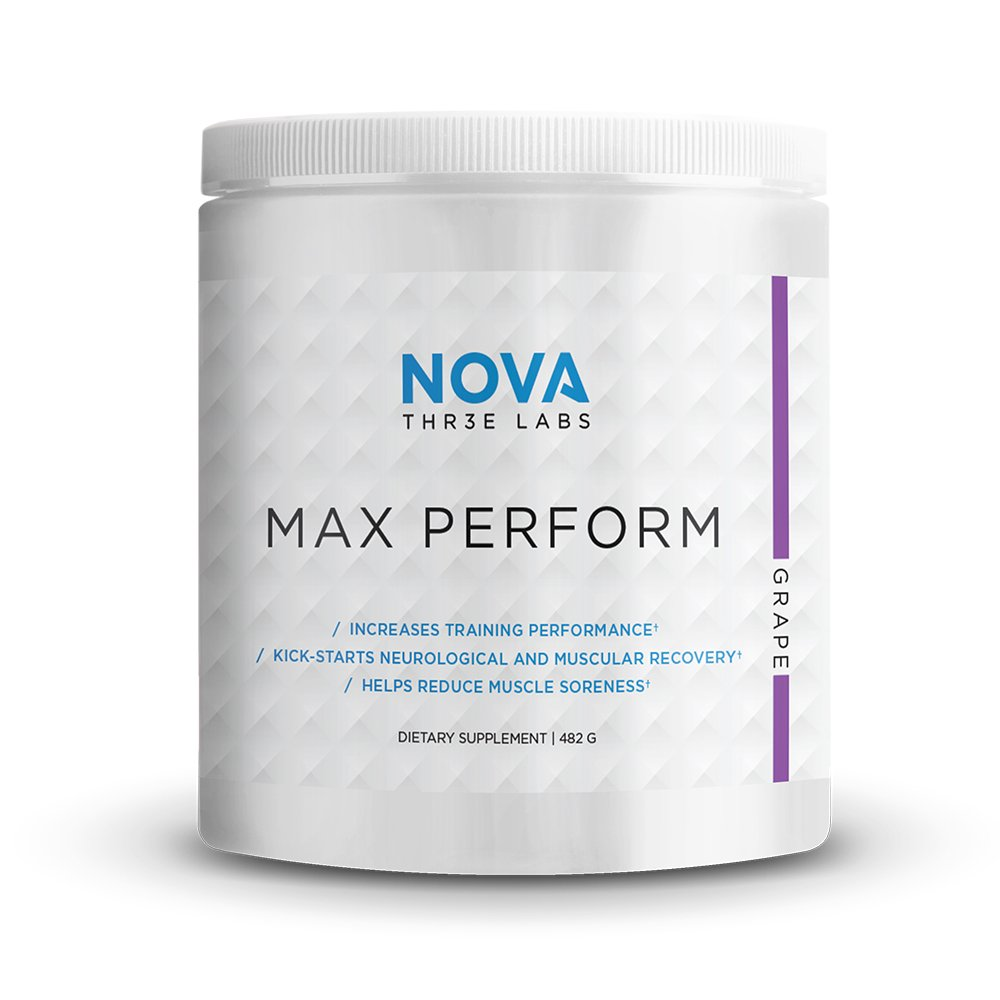 NOVA Three Labs Max Perform Powdered Preworkout Formula Designed to Maximize Performance and Reduce Fatigue During Training. Grape