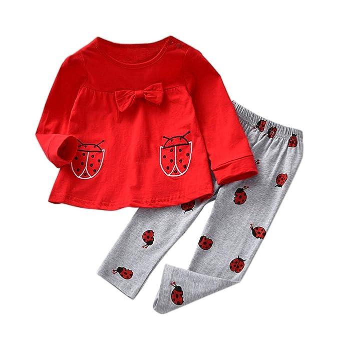 puseky 2 Teile//satz Baby M/ädchen Kinder Kleinkind Marienk/äfer Print Langarm Bowknot Tops Pants Outfits Set