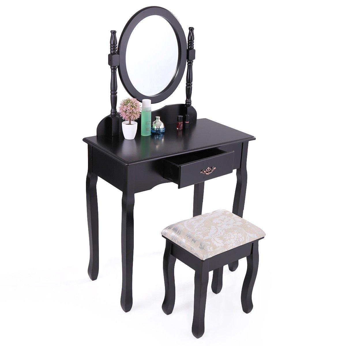 Tobbi Vanity Mirror Table Set Make up Wood Chair Desk With Stool Bench Black