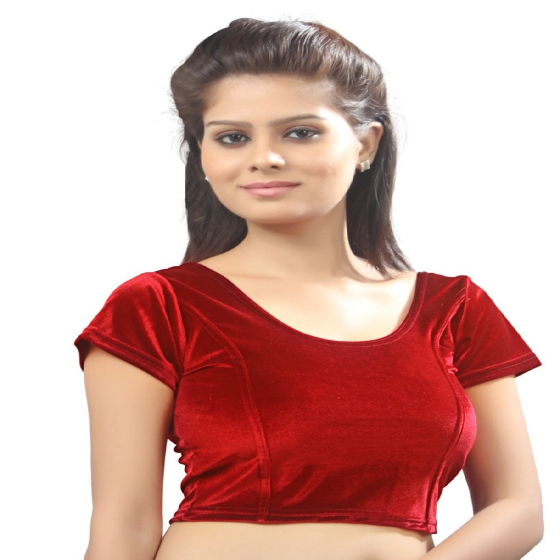 c66516f93b2a0c Biyu Red Cap Sleeve U-Neck Cotton Lycra Velvet stretchable Readymade saree  Blouse(RR047)  Amazon.in  Clothing   Accessories