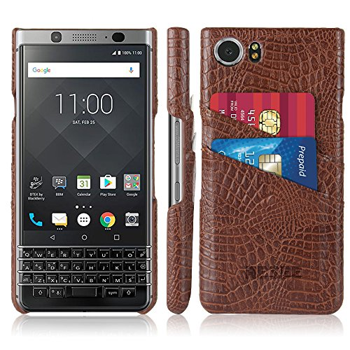 BlackBerry KEYone Leather Card Holder Hard Case, Ultra Slim Back Cover (Coffee)