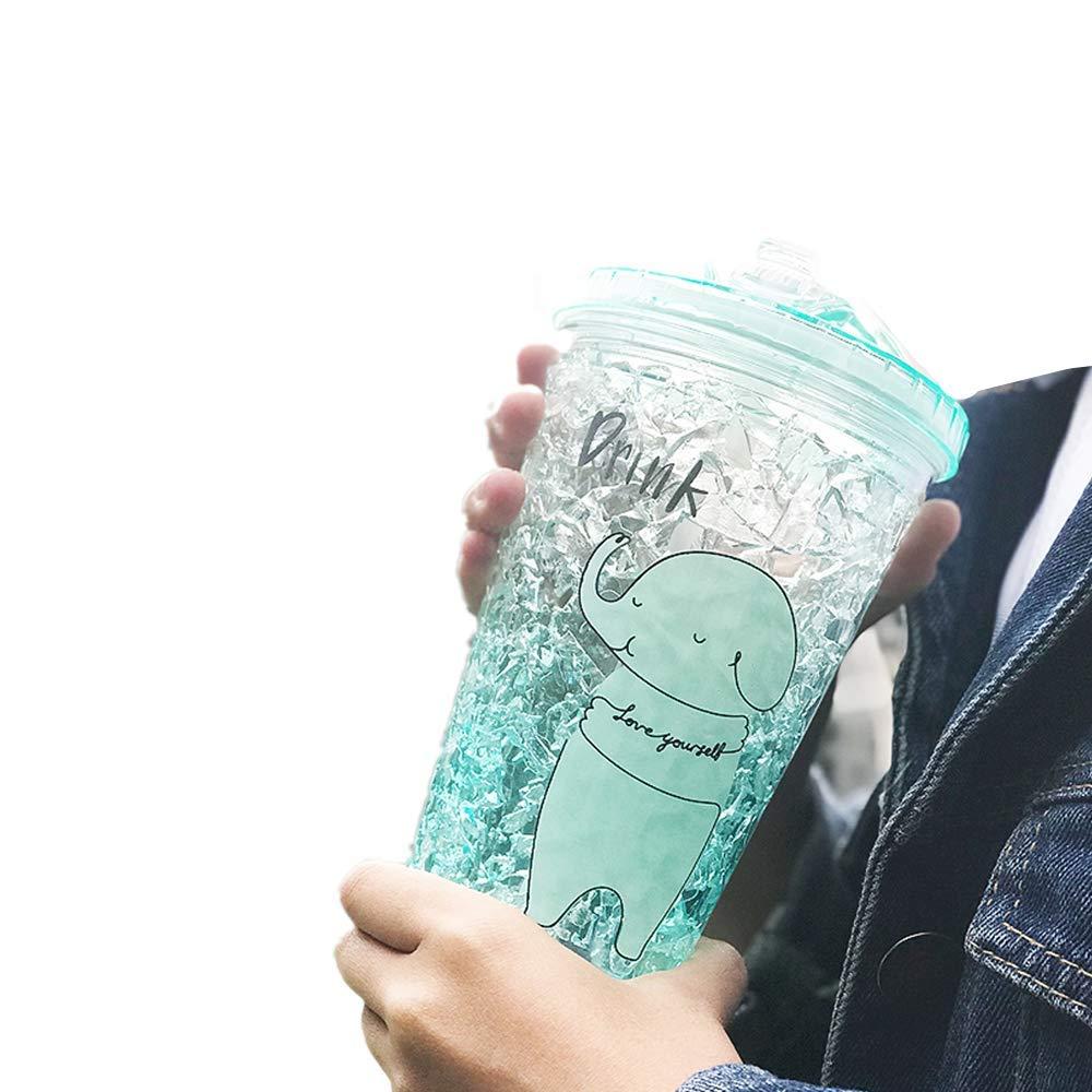 BPA frei -15oz eiskalte Getr/änke Becher YUX Eiskalte Getr/änke Tasse Becher mit Deckel und Strohhalme Slush Tassen Milchshake Gl/äser Smoothie Tassen gr/ün Double Wall Ice Cream Cone
