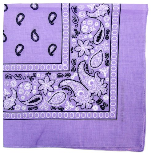 Novelty Bandanas Paisley Cotton Bandanas (Lavender, 22 X 22 in)