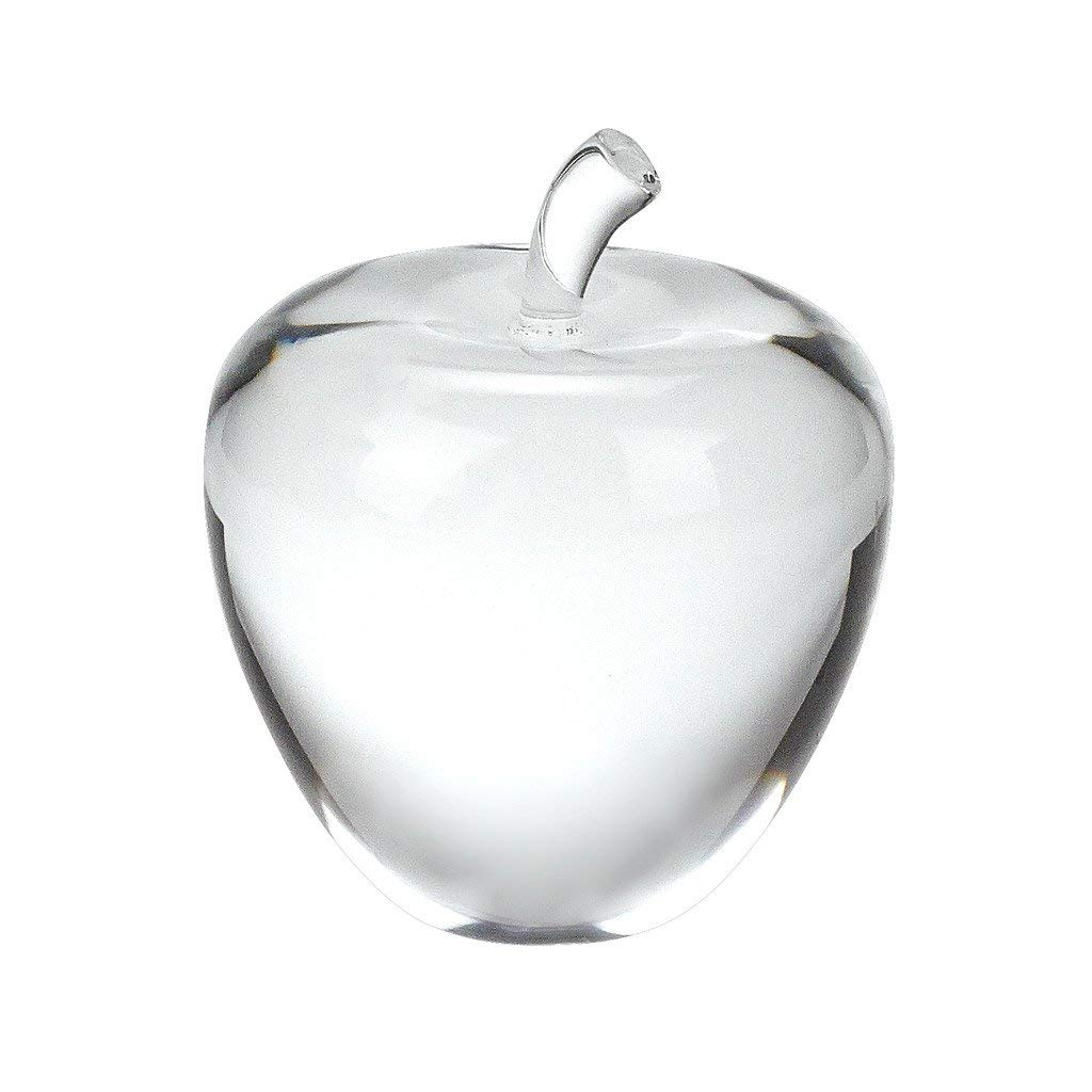 Badash - Unique Crystal Apple Paperweight with Stem 3.5'' Tall by Badash