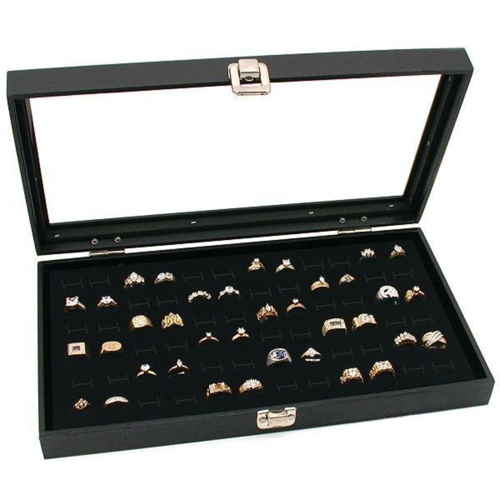 Glass Top Black Jewelry Display Case 2 72 Slot Ring Trays FindingKing KIT-10283