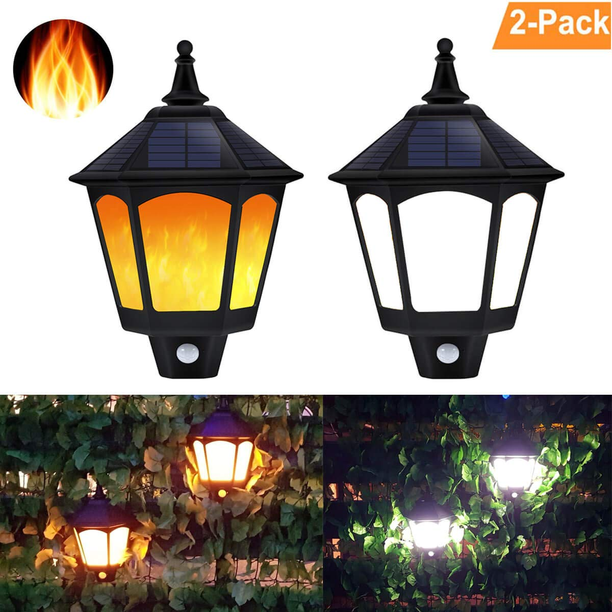 Solar Flame Lights Outdoor, ALOVECO 2 in 1 Motion Sensor Solar Wall Sconce, Waterproof Flickering Flames Lantern, 87 LEDs Auto On/Off Solar Security Lights Outside Decorative for Garden Fence Porch(2)