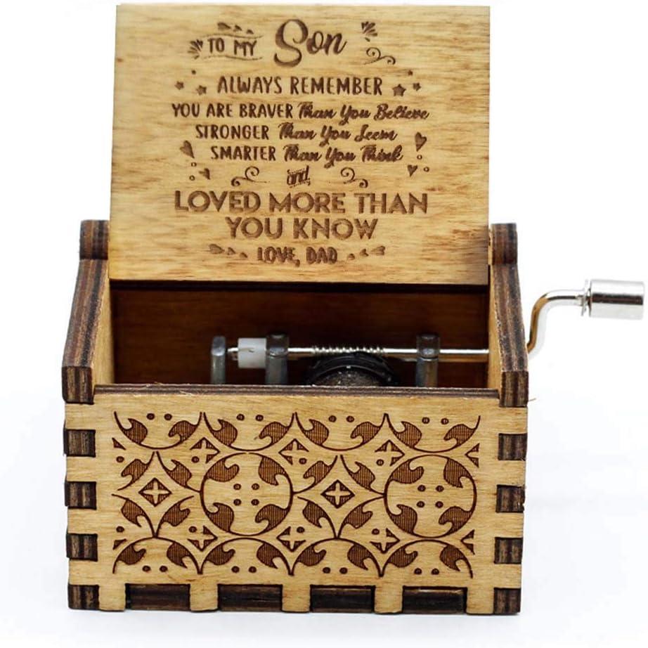 You Are My Sunshine Goodangie00 H/ölzerne Spieluhr Holz Handkurbel Graviert Musikbox Vintage Hochzeit Valentinstag Weihnachten Geburtstagsgeschenk to My Wife