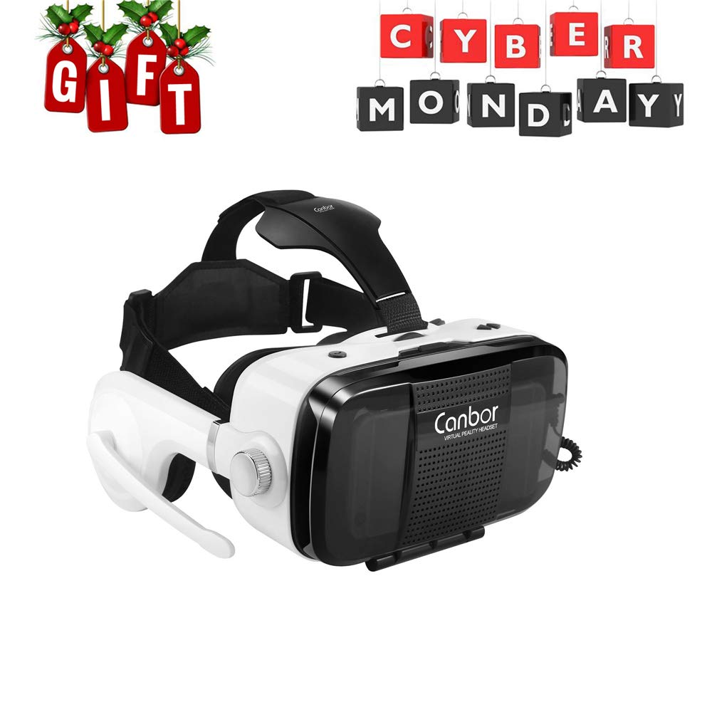 Canbor Virtual Reality Headset, VR Headset VR Goggles with Stereo Headphones VR Glasses for 3D Movies and Games Compatible with 4.7-6.2 Inches Apple iPhone, More Smartphones CB-VR1003-US