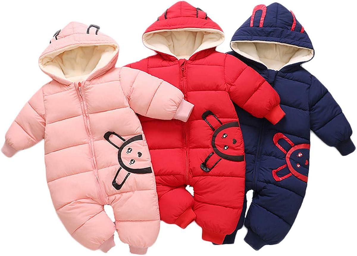 JELEUON Baby Girls Boys One Piece Winter Hooded Ladybug Print Warm Puffer Onesies Jumpsuit Snowsuit Romper