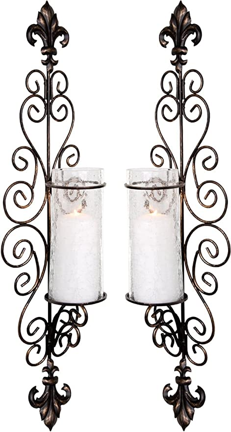 Set Of Two Decorative Bronze Metal Wall Sconce And Crackle Finished  Hurricane Candle Holders, Wall