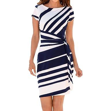 Mode Streifen Damen Sommerkleider Mumuj Elegant Festliche Kleid Arbeits  Abendkleider knielang Pencil Dress Party lässig Gürtelkralle 283b2d0c9d