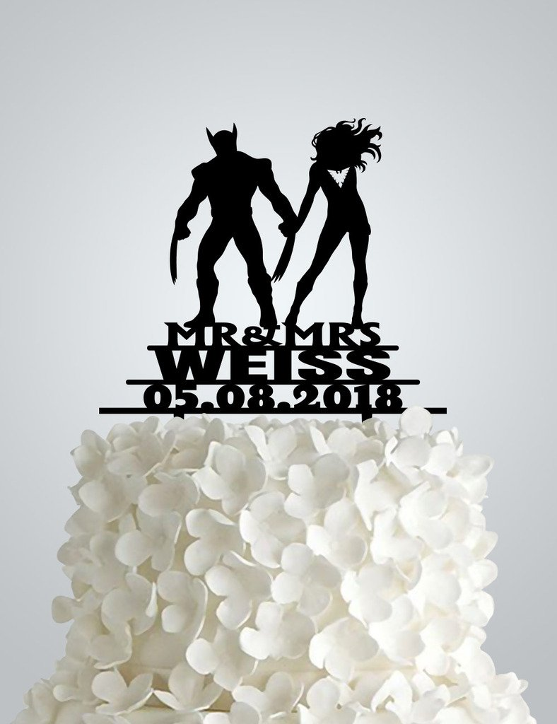 Acrylic Wedding cake Topper inspired Phoenix and Wolverine