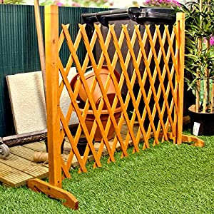 Expanding Fence Garden Screen Trellis Style Expands to 6'2″ Freestanding Wood