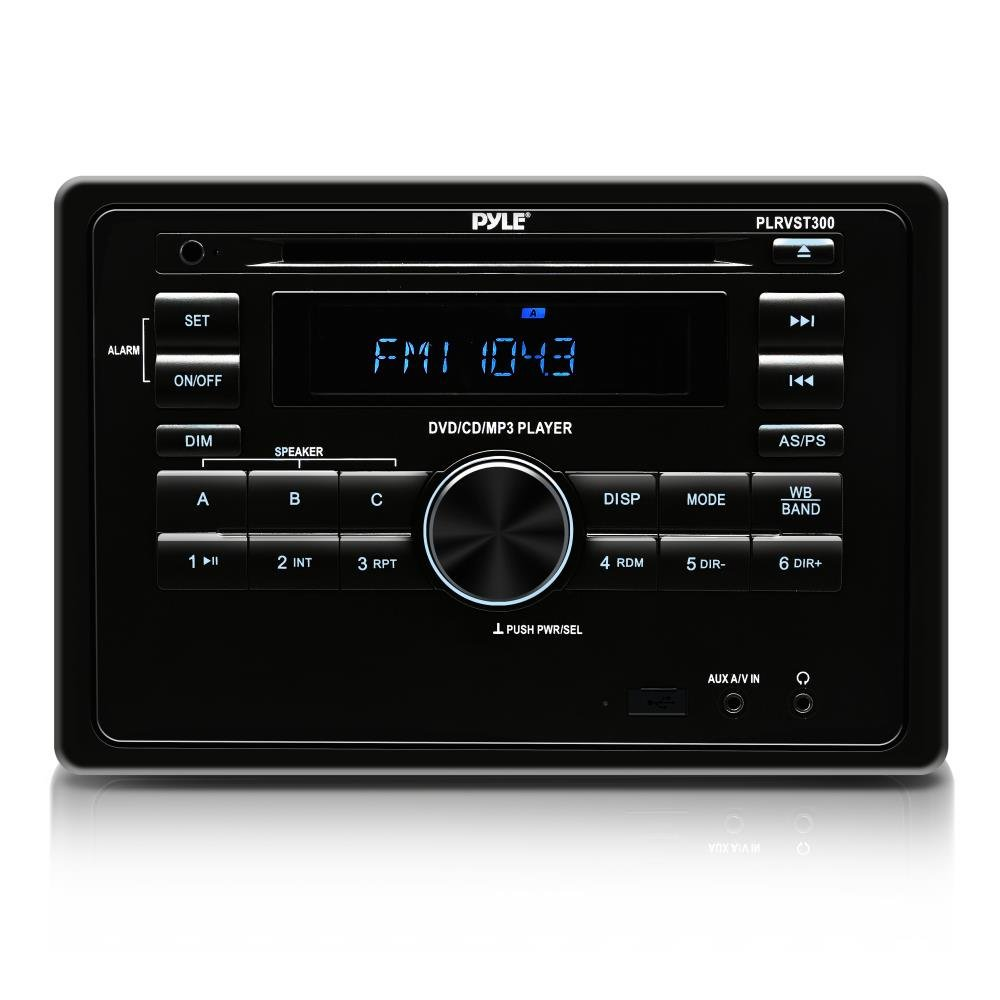 Premium Upgraded Pyle RV Bluetooth Radio, AV Receiver, LCD Digital Display, AM-FM Radio, Multimedia Aux MP3 and Video Input, USB Drive, Wall Mount with Remote Control