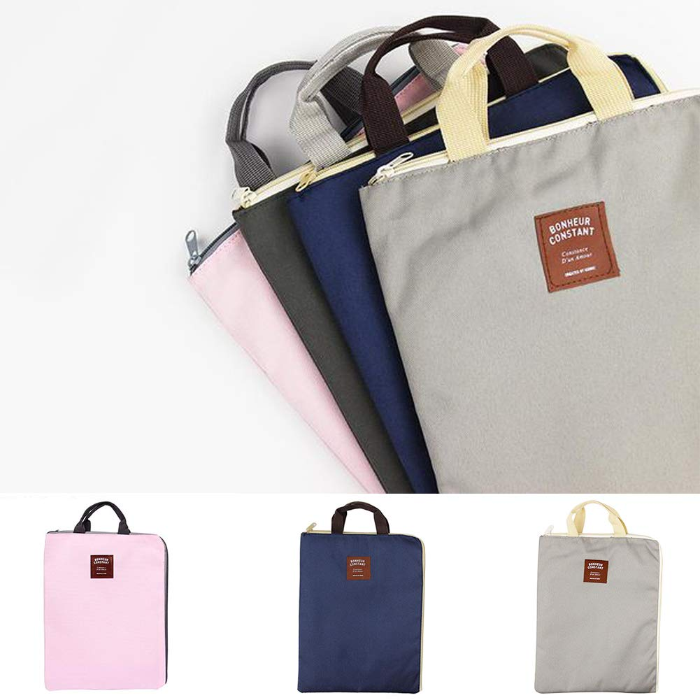 RoJuicy Portable A4 Size File folders Multi-Purpose Laptop Bag Layered Canvas Briefcase with Zipper