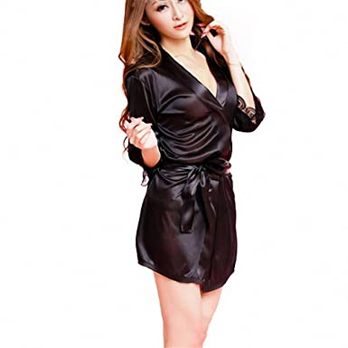 Sexy pijama Nightie Sleepwear for Women Ladies With G-string black Lingerie Bathrobe Nightgown Wild