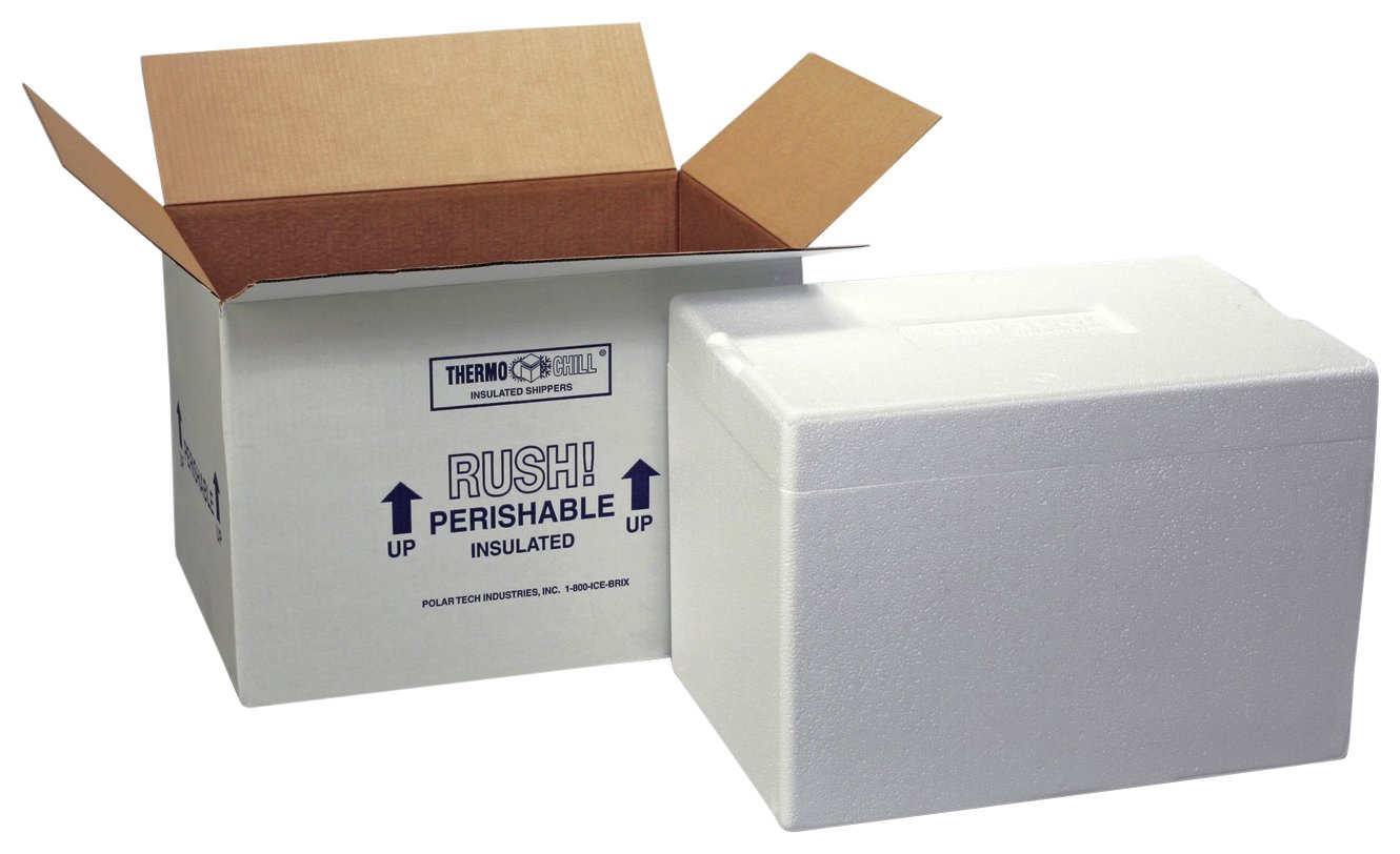 Polar Tech 271C Thermo Chill Insulated Carton with Foam Shipper, Extra Large, 26'' Length x 19-3/8'' Width x 10-1/2'' Depth