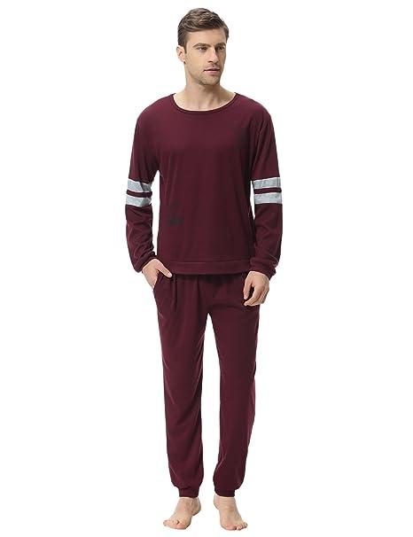 9be914074851 Aibrou Pigiama Uomo Lungo in Cotone Rosso S: Amazon.it: Abbigliamento