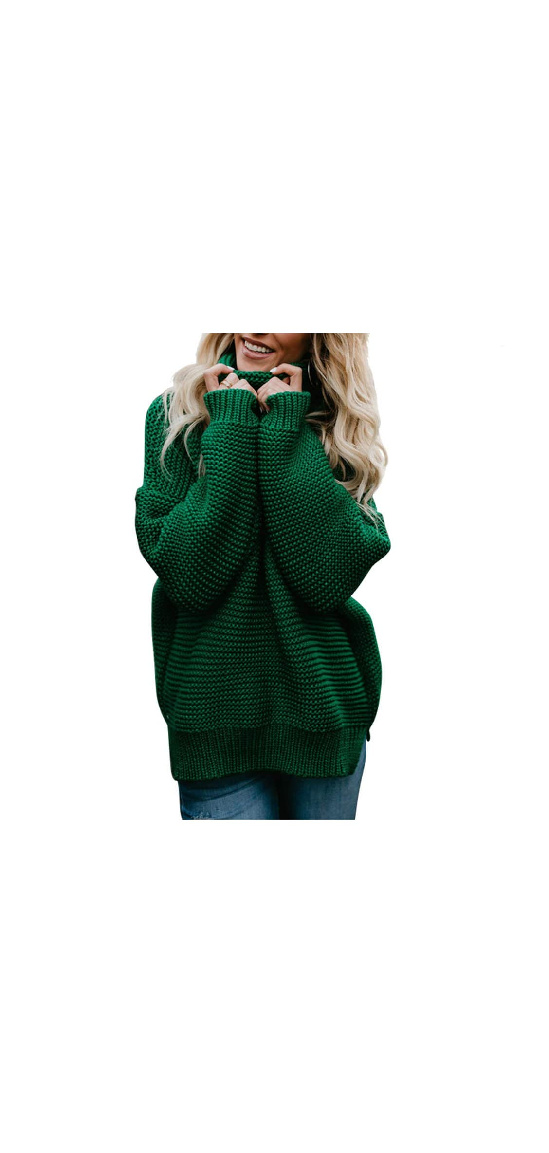 Women's Casual Long Sleeve Chunky Turtleneck Knit Sweater