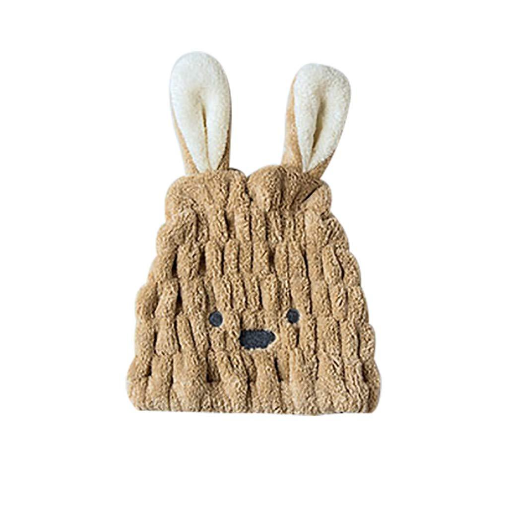 Rameng- Chapeau de Cheveux Secs Bonnet de Bain Turban Sec Capuchon à Séchage Rapide Absorbant Forme de Lapin (Beige)