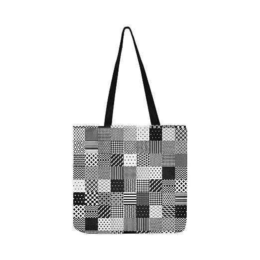 Negro Patchwork blanco acolchado geométrico lienzo bolso ...