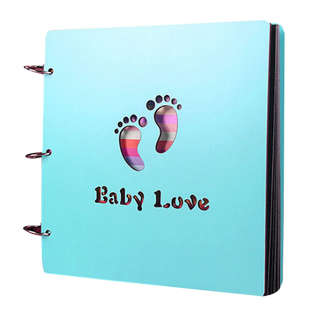 Monique Baby DIY Photo Album Photo Wooden Cover Autograph Album Book for Kids Blue