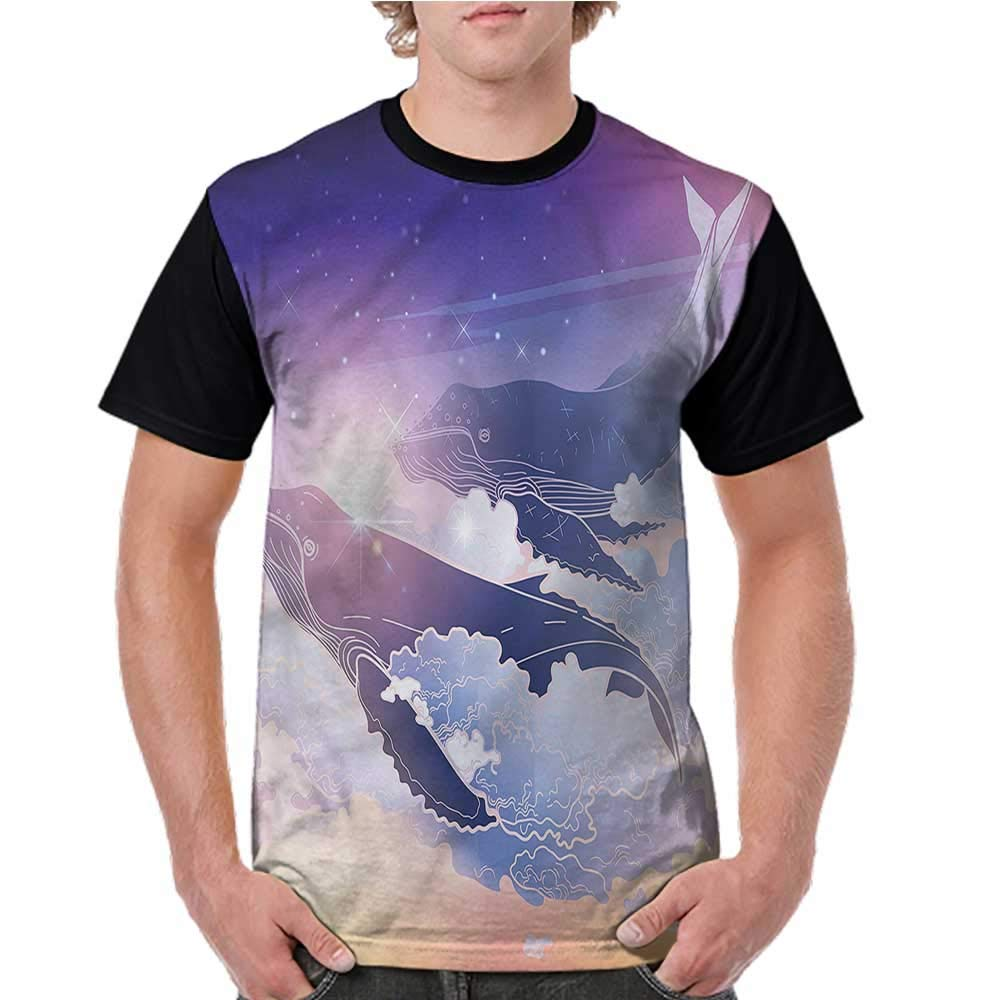 Printed Short Sleeves,Whale,Colorful Silhouettes S-XXL Baseball T-Shirt Tee Tops