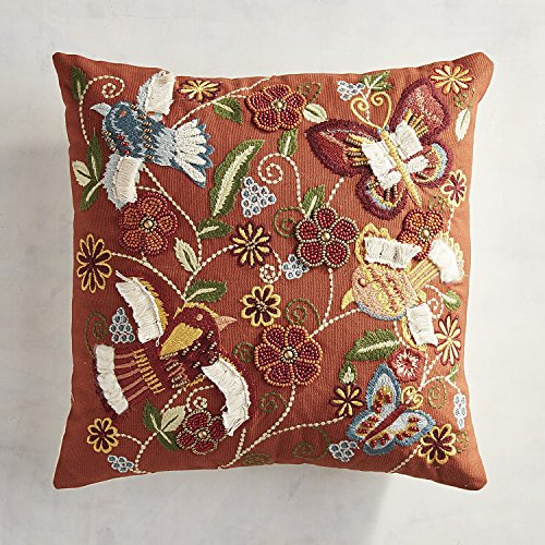 Pier 1 Imports Beaded & Embroidered Floral & Birds Pillow (Set of 2) (Pier 1 Imports Decor)