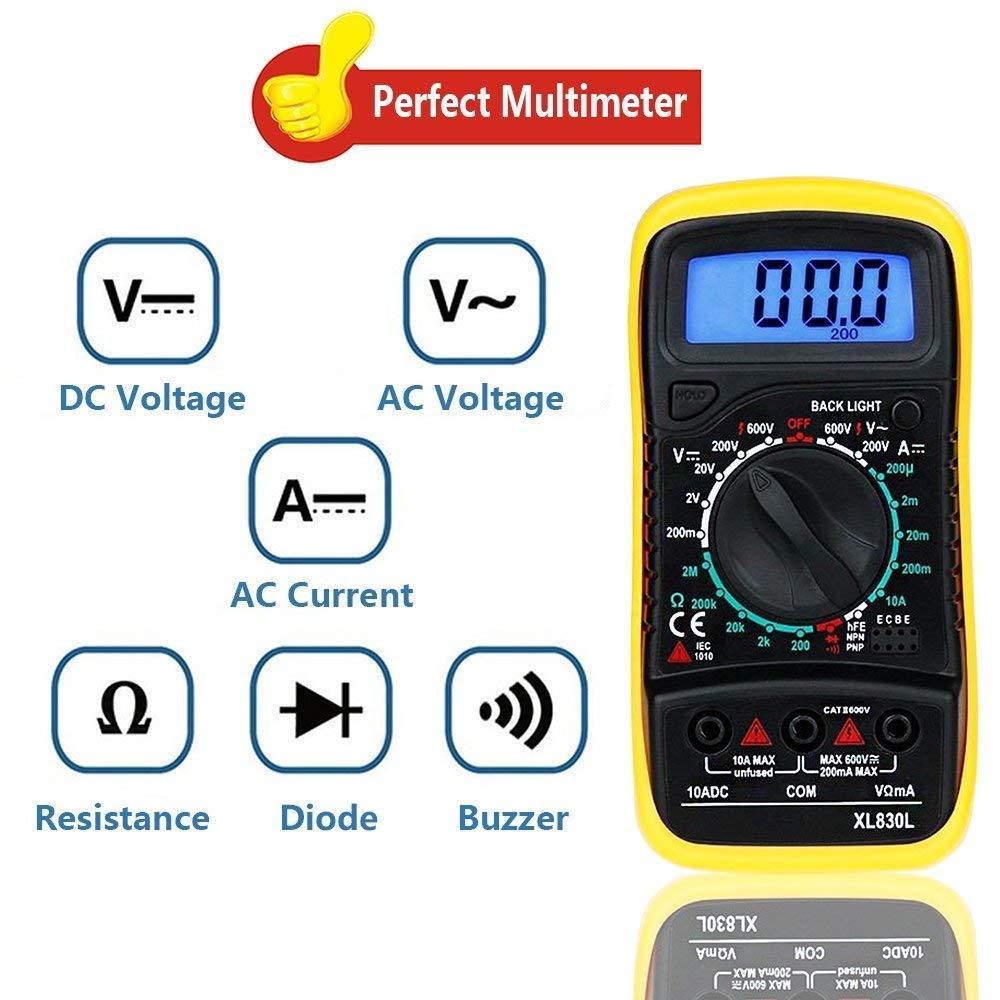 schwarz//gelb Widerstand Ink.9V Batterie und Messleitungen Kontinuit/ät AC//DC-Spannung Digital Multimeter XL830L mit LCD-Hintergrundbeleuchtung Messger/ät f/ür Strom Dioden usw