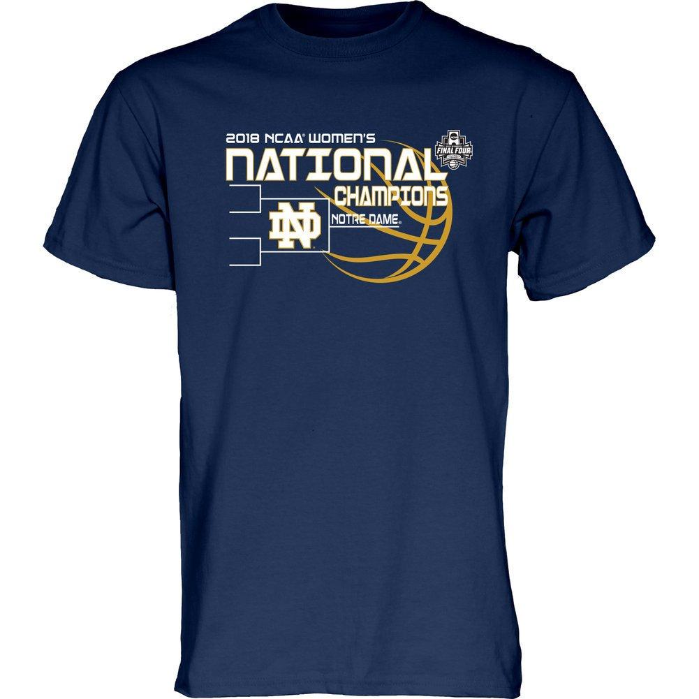 0895edf4f62b Amazon.com   Elite Fan Shop Notre Dame Fighting Irish National Champs T Shirt  Womens Basketball 2018 Navy Bracket   Sports   Outdoors