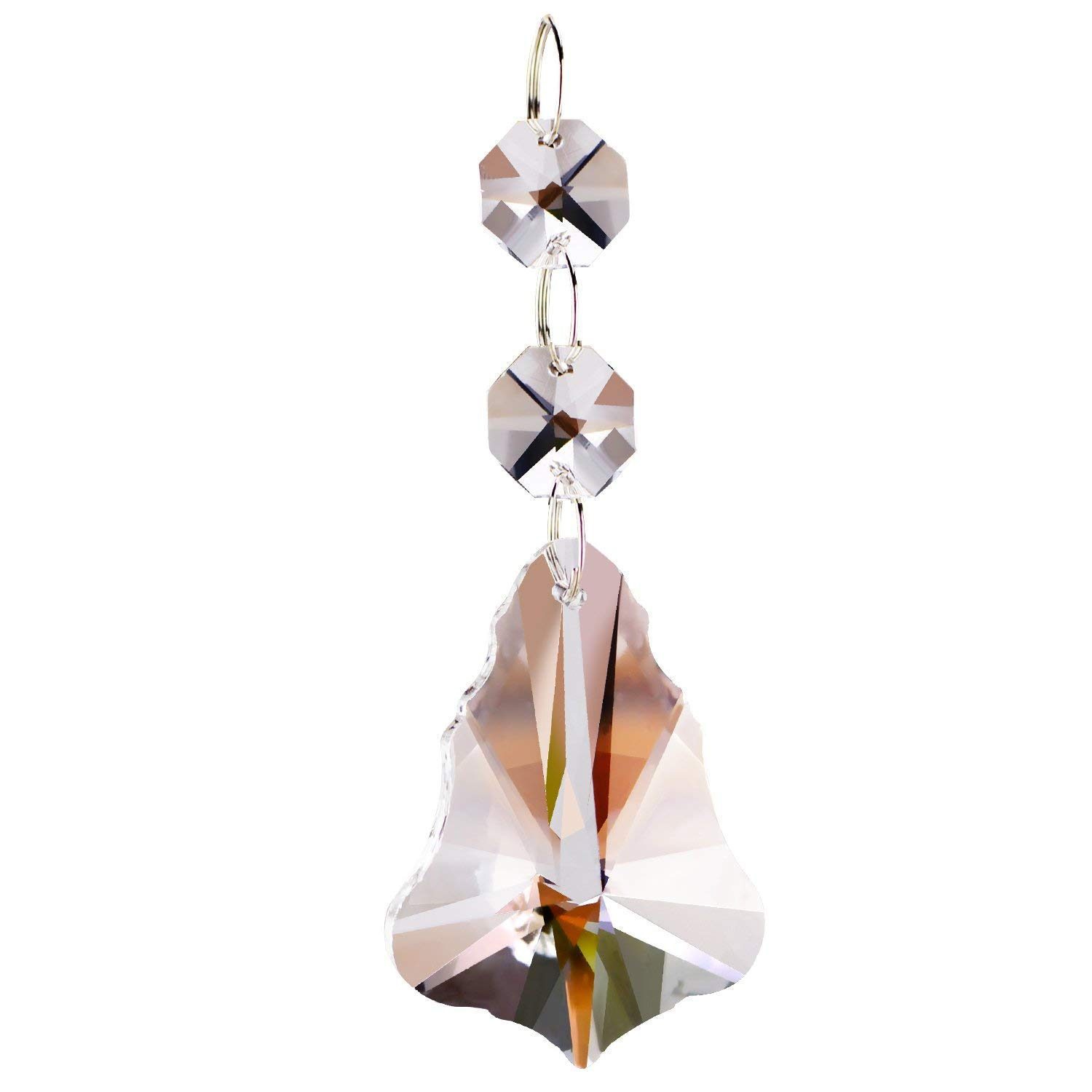 Fushing 10Pcs Christmas Tree Style Crystal Beads Drop Pendants Chandelier Curtain Lamp Chain Prisms for Wedding Party Decoration (50mm)
