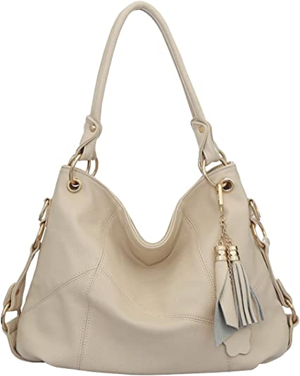 Womens Brown//Beige Leather Shoulder Bag Tote purse, hobo, handbag