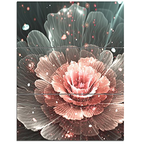 Design Art  Abstract Fractal Pink Gray Flower - Floral Canvas Art Print