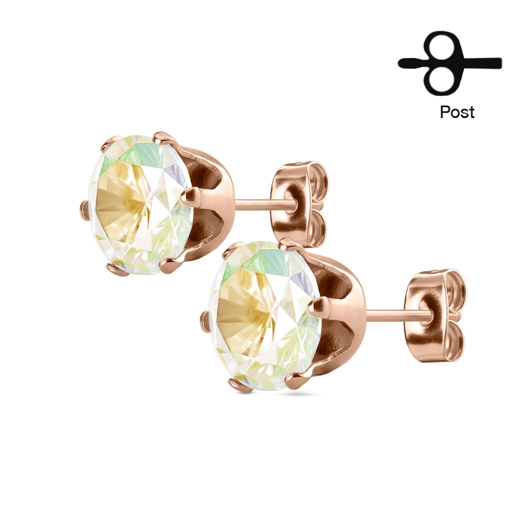 Stud Earring with Round CZ Rose Gold IP Over 316L Stainless Steel -1Pair (8mm, Aurora Borealis)