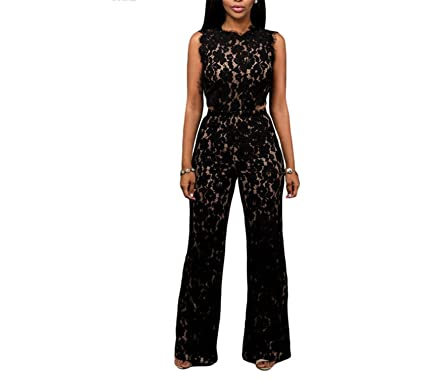 884d1bb044f Missrooney Sexy Rompers for Women Black Lace Nude Illusion Back Cutout Jumpsuit  Macacao Feminino Longo Combinaison
