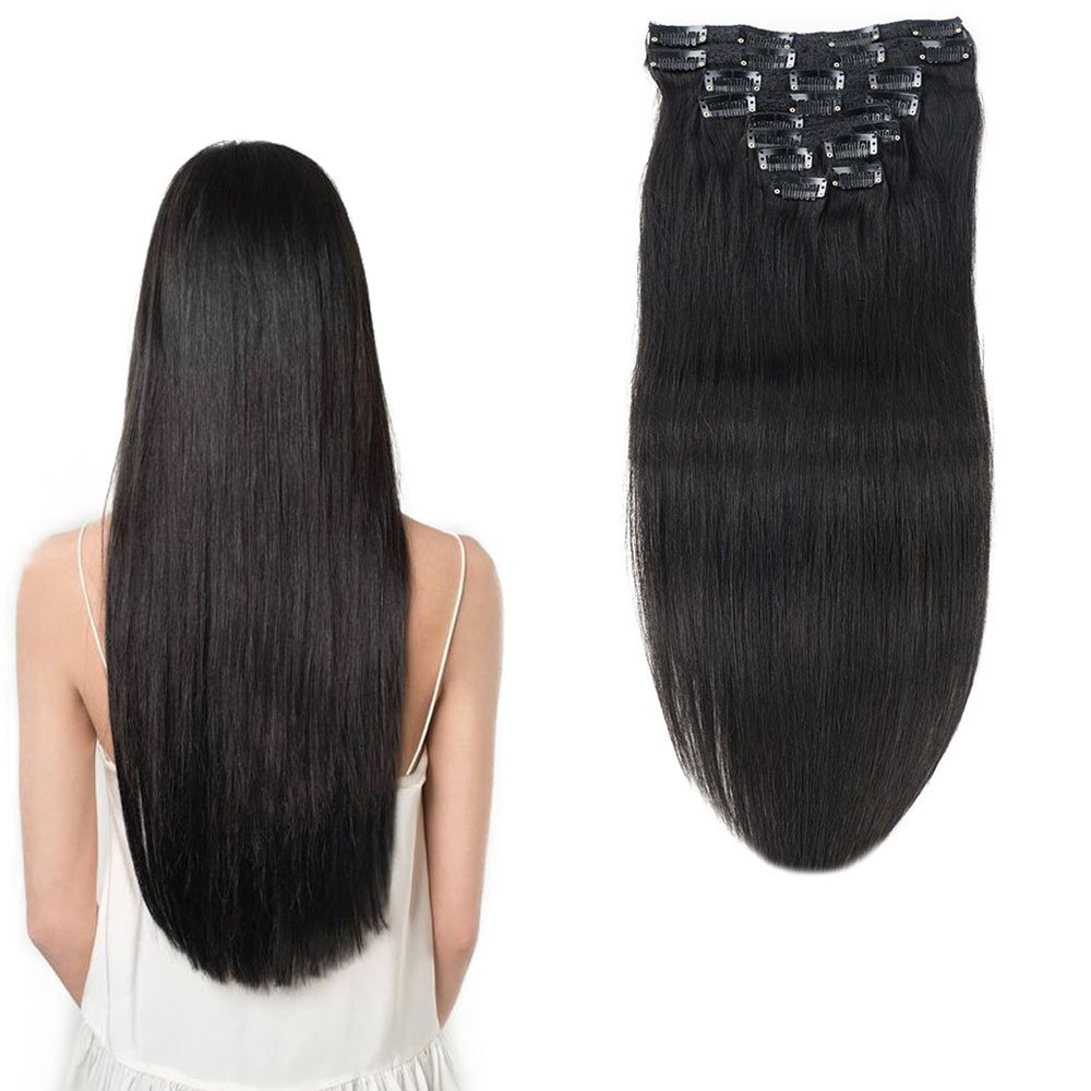 Clip In Human Hair Extension Brazilian Straight Remy Hair Extensions