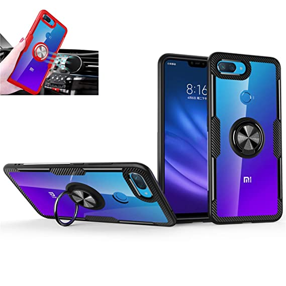 Xiaomi Mi 8 lite Case,360° Rotating Ring Kickstand Protective Case,TPU+PC Shock Absorption Double Protection Cover Compatible with [Magnetic Car ...