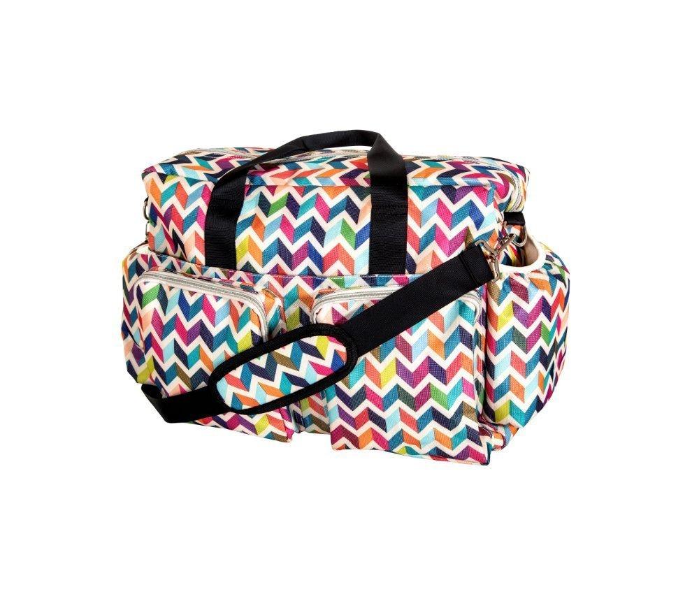 Girls Rainbow Chevron Diaper Bag, Zig Zag Pattern Baby Toddler Colorful Duffle