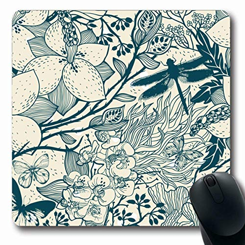 Ahawoso Mousepad for Computer Notebook Magnolia Herbal Floral Blooming Garden Vintage Nature Berry Pattern Herb Accent Orchid Drawn Design Oblong Shape 7.9 x 9.5 Inches Non-Slip Gaming Mouse Pad