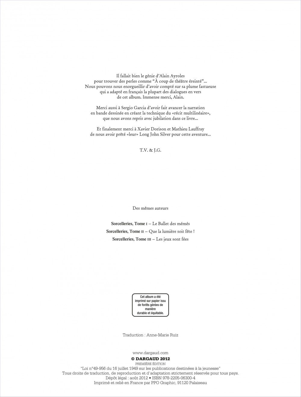 Sorcelleries Tome 3 Les Jeux Sont Fees Sorcelleries 3 French Edition Valero Teresa Guarnido Juanjo 9782205063004 Amazon Com Books